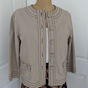 Chico's Platinum Tan Cotton Jacket Size Medium